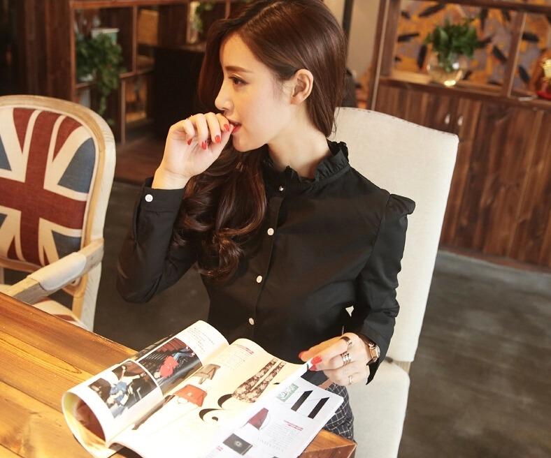 เสื้อเชิ้ตคอจีน2 แต่งระบายฟรุ๊งฟริ๊ง สีดำ(Black)