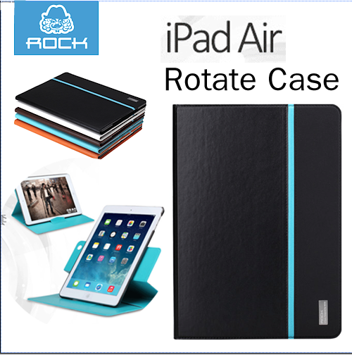 ROCK Rotate Series flip cover case for Apple iPad Air - สีดำ