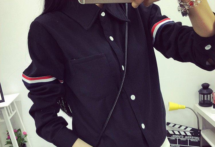 เสื้อเชิ้ต แขนแต่งคาดแถบ 3 สี สีดำ(Black)