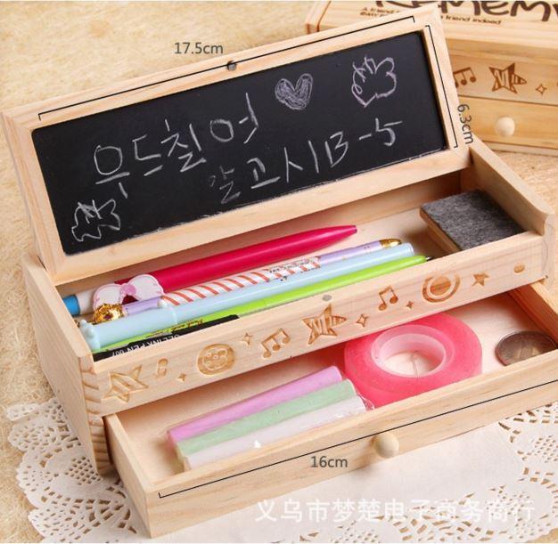 กล่องดินสอไม้ มีลิ้นชัก + กระดานดำ Remember