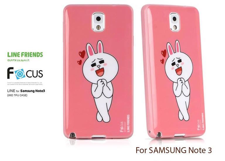 เคส Samsung Galaxy Note 3 ของ Focus Line Friends - สีชมพู 02 (ลิขสิทธิ์)
