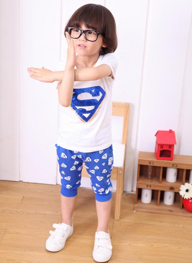 ชุดซุปเปอร์แมน เสื้อ+กางเกง สีน้ำเงิน