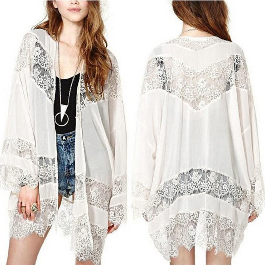 zanzea Lace Chiffon Kimono Cardigan (White)
