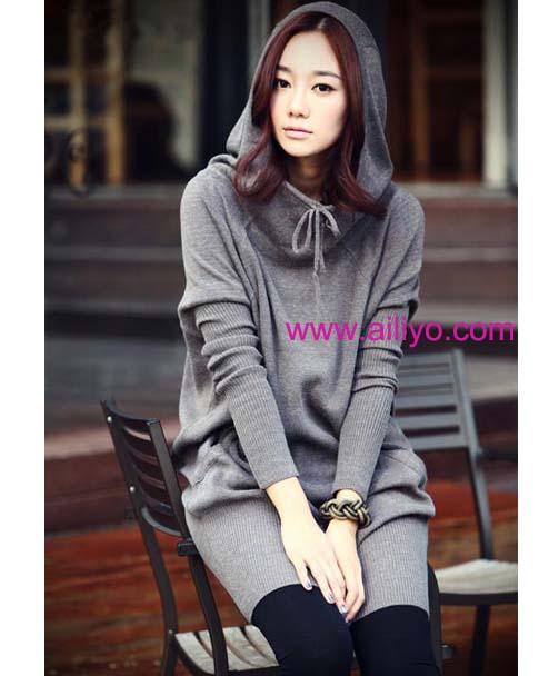 fashion เสื้อโค้ทแขนยาว มีฮูท ผ้าคอตตอน สีเทา ตัวเท่ห์ ใส่กันหนาวได้