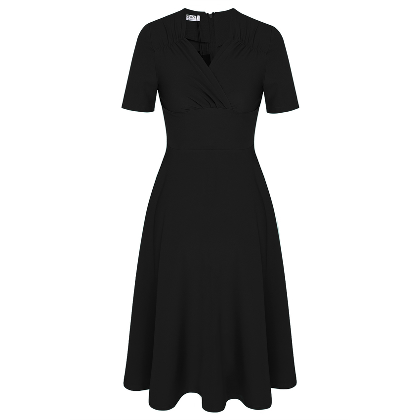 Sunwonder ANGVNS Women Fashion Casual Vintage Style High WaistSolid Pleated Womens Dresses Online (Black)