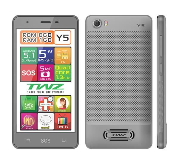 SALE TWZ Y5 4 core จอใหญ่ 5 นิ้ว IPS 2 ซิม ระบบ 3G Android 5.1 บางเบา สวยหรู สีเทา ส่งฟรี