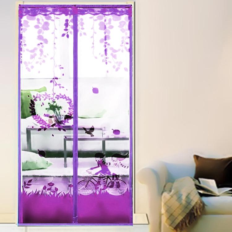 มุ้งประตูแม่เหล็ก สีม่วง ลายคู่รัก ขนาด 90x210 ซม. แม่เหล็ก้อน และเส้นแม่เหล็กในตัว