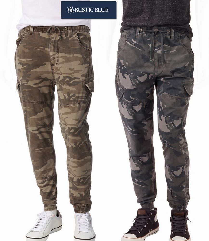 Rustic Blue Camo Print Ripstop Cargo Jogger Pants