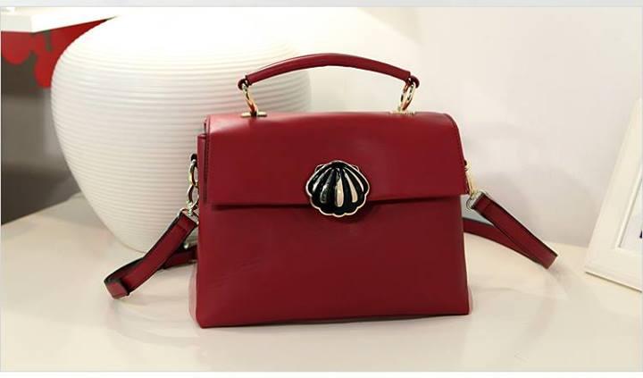 กระเป๋า Axixi กระเป๋าสไตล์คลาสสิค เรียบหรู สีเบอร์กันดี ร้าน Asia Street Fashion