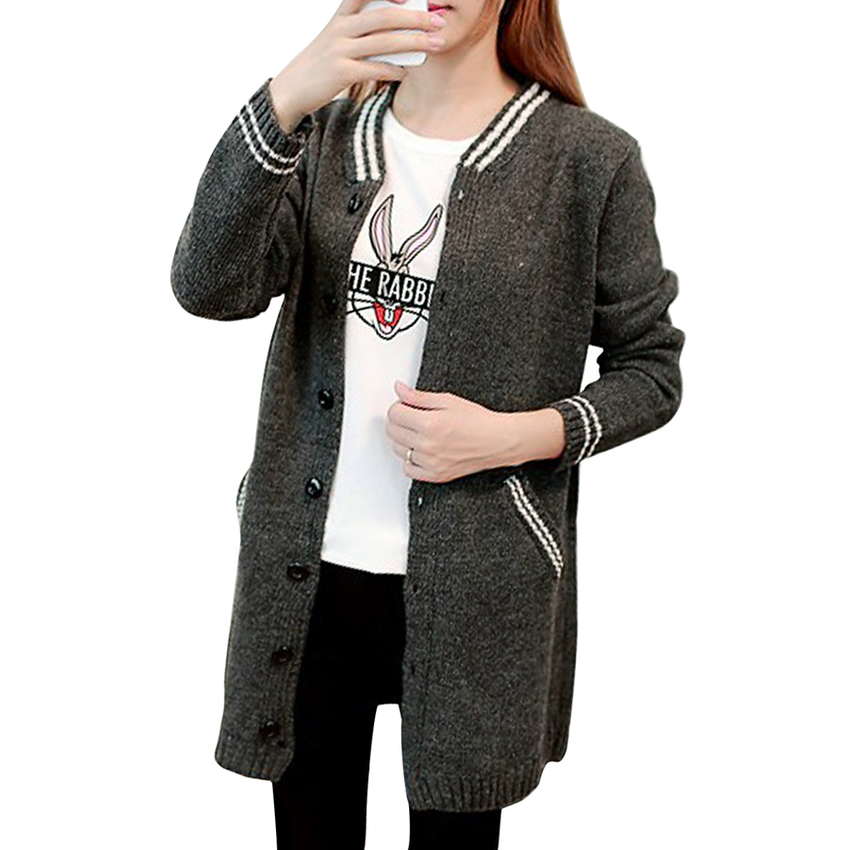 Toprank Autumn Winter Korean Sweater Fashion Women Casual LongCardigan Sweaters Knitted Long Sleeve Sweater With Pockets