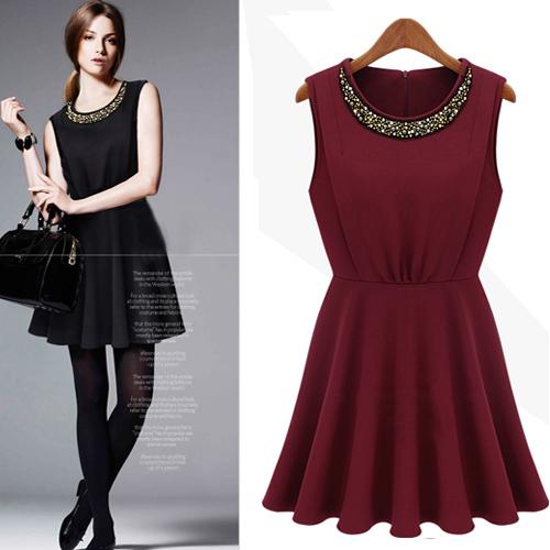 dress ชุดเดรสแขนกุด สีแดง คอกลม แฟชั่นเกาหลี สาวมั่น ใส่ทำงาน ผ้า Cotton แต่งลูกปัดคอเสื้อ Asia Street Fashion