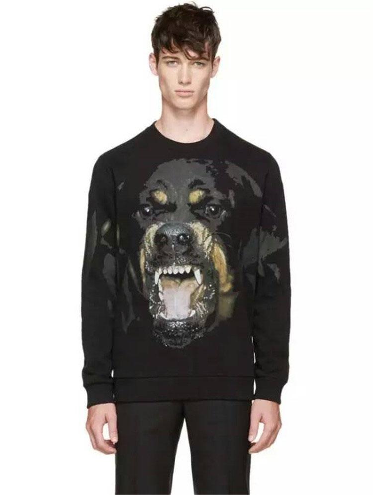 GIVENCHY เสื้อแขนยาวคอกลม ผ้าคอตตอน ลาย Rottweiler สีดำ Model