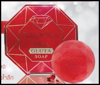 สบู่รับบี้โรส สบู่อัญมณีสีแดง Ruby Roses Asta Gluta Soap
