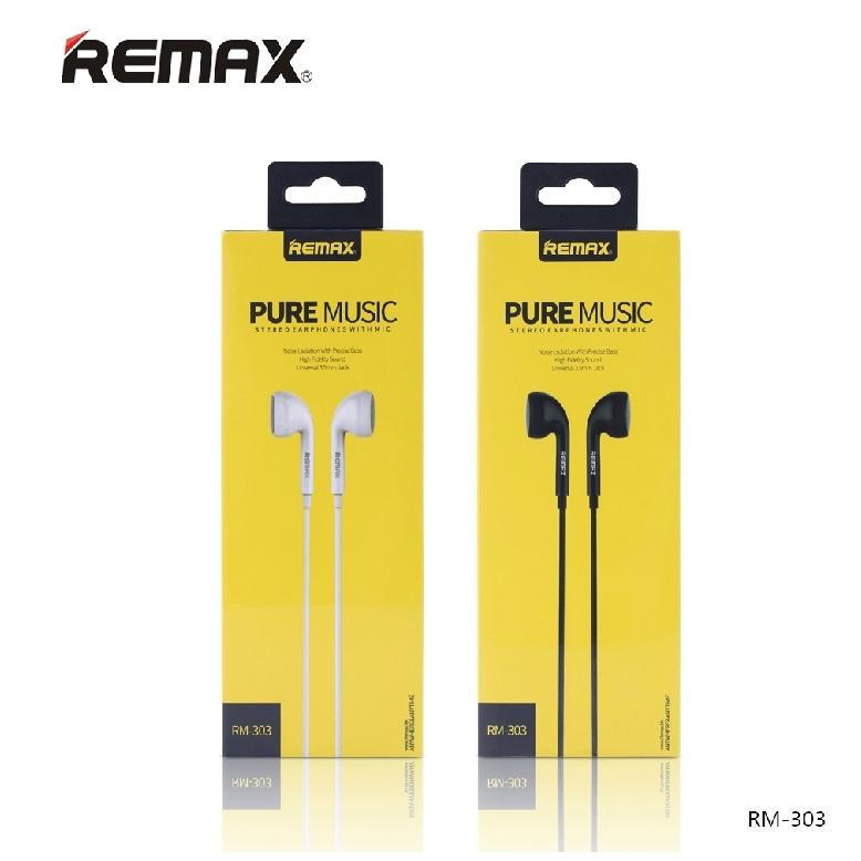 หูฟัง Remax RM-303 แท้ 100% หูฟัง Earbud พร้อมไมค์ ไม่เจ็บหู เสียงโทนเย็นๆ สบายๆ