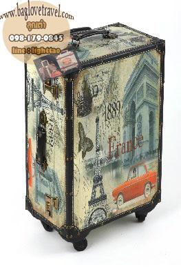 กระเป๋าเดินทางวินเทจ รุ่น vintage classic ลายเมืองฝรั่งเศส ขนาด 22 นิ้ว