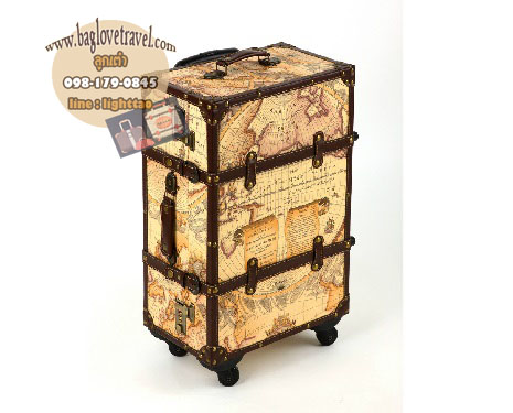 กระเป๋าเดินทางวินเทจ รุ่น vintage classic ลายแผนที่ ขนาด 24 นิ้ว
