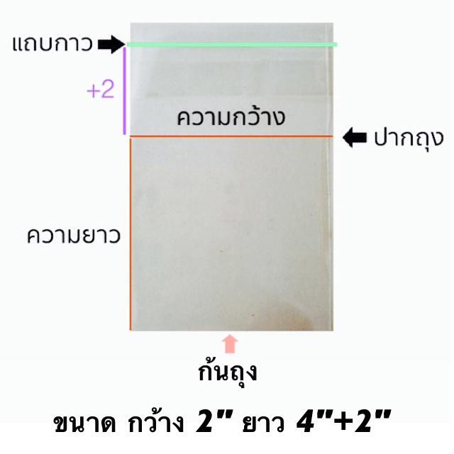 ถุงแก้วแถบกาว 1/2 โล ขนาด 2*4+2 นิ้ว ประมาณ 700 ใบ
