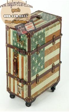 กระเป๋าเดินทางวินเทจ รุ่น vintage classic ลายธงชาติอเมริกา ขนาด 22 นิ้ว