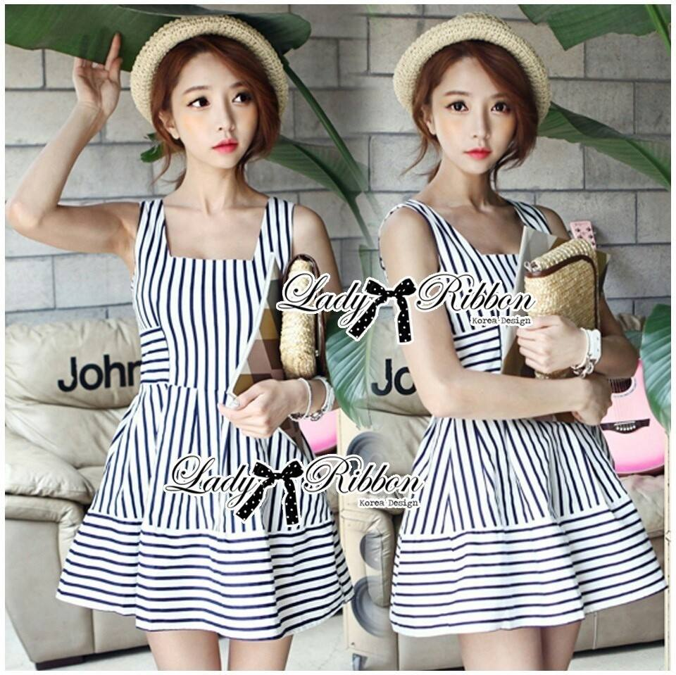 DR-LR-074 Lady Kate Super Striped Navy Dress