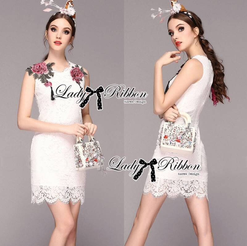 Lady Serena Classy Red Rose Embroidered White Lace Dress L169-75E03