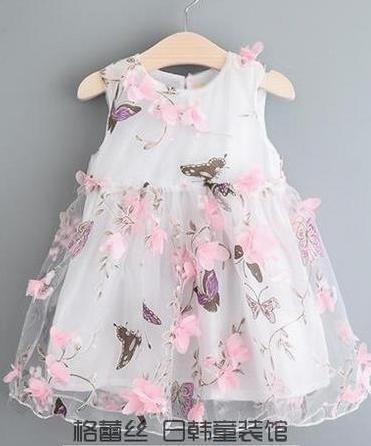 GD022 ชุดเดรสีขาว ลายดอกไม้และผีเสื้อ ชุดออกงานเด็กหญิง