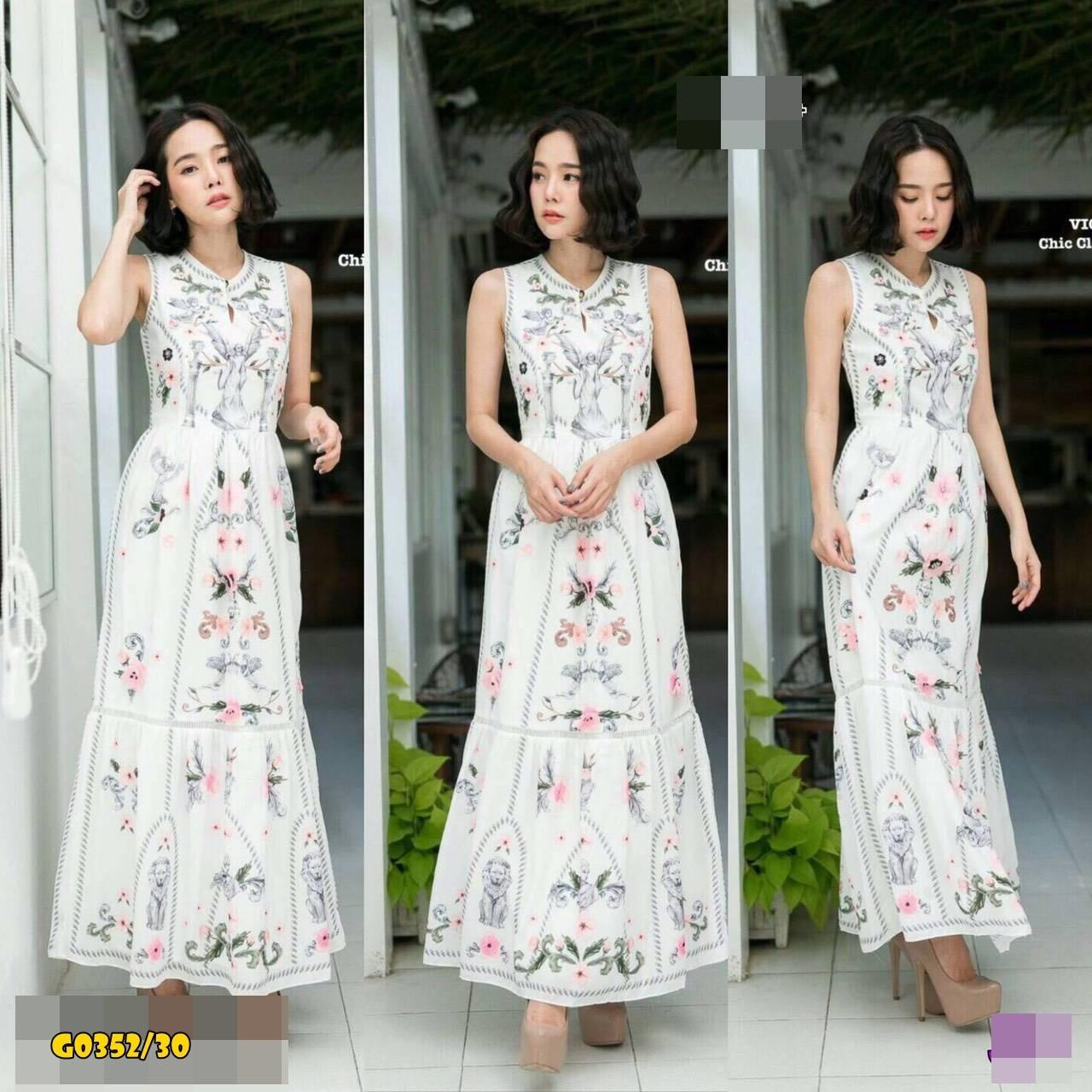 Maxi dress เดรสตัวยาว wila สกรีนดอกไม้และสิงโต
