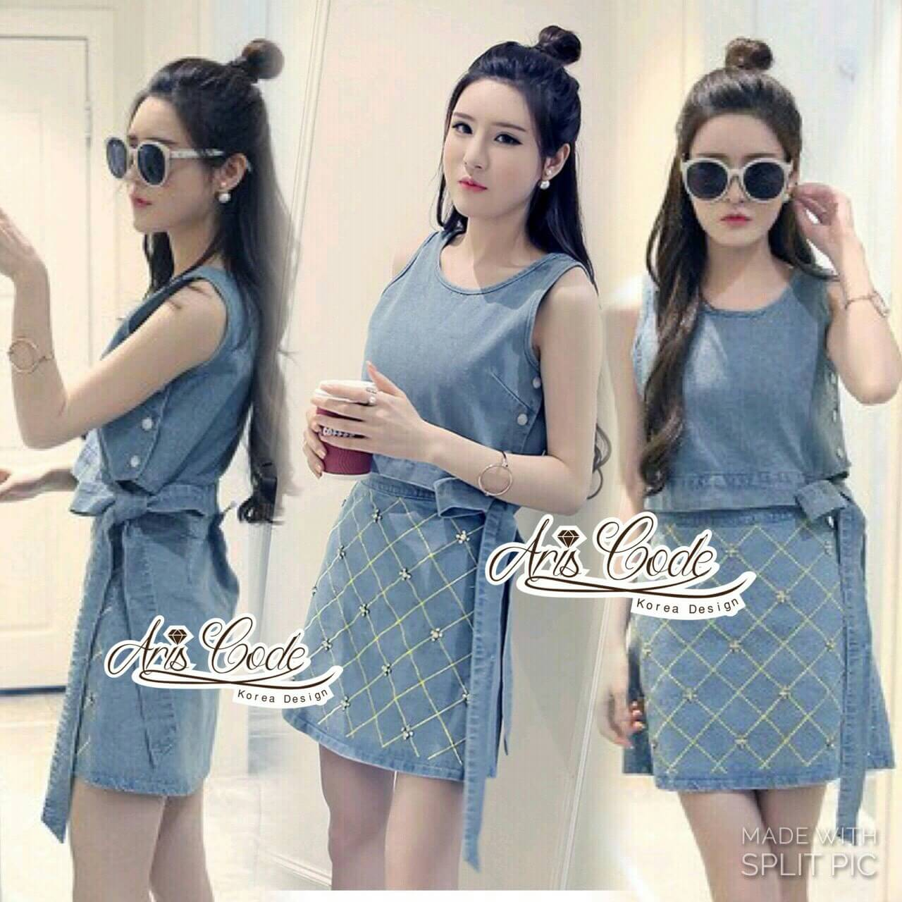 Korea lady Shirt + denim skirt Crystal by Aris Code