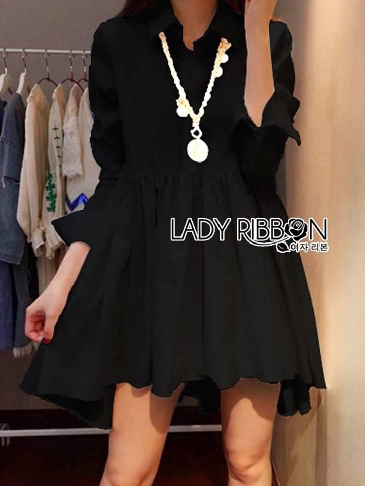 Lady Jane Feminine Asymmetric Peplum Cotton Shirt Dress L187-69C06