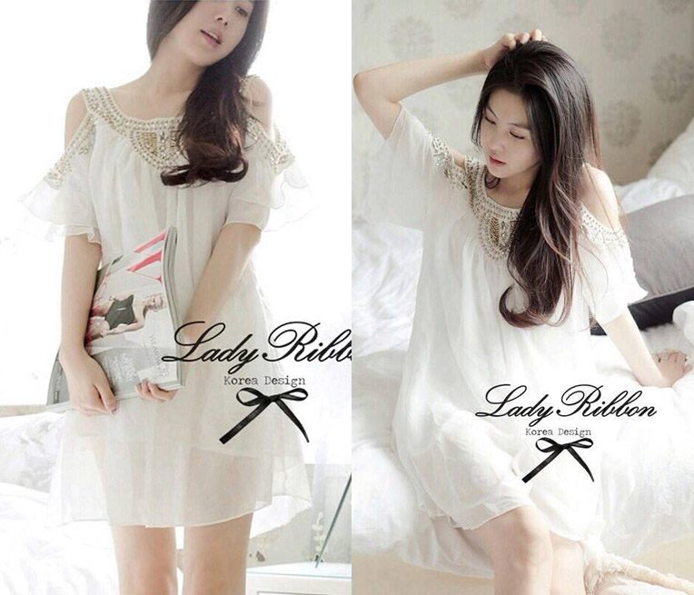 DR-LR-098 Temperley London Giovanna Embellished White Tunic Dress