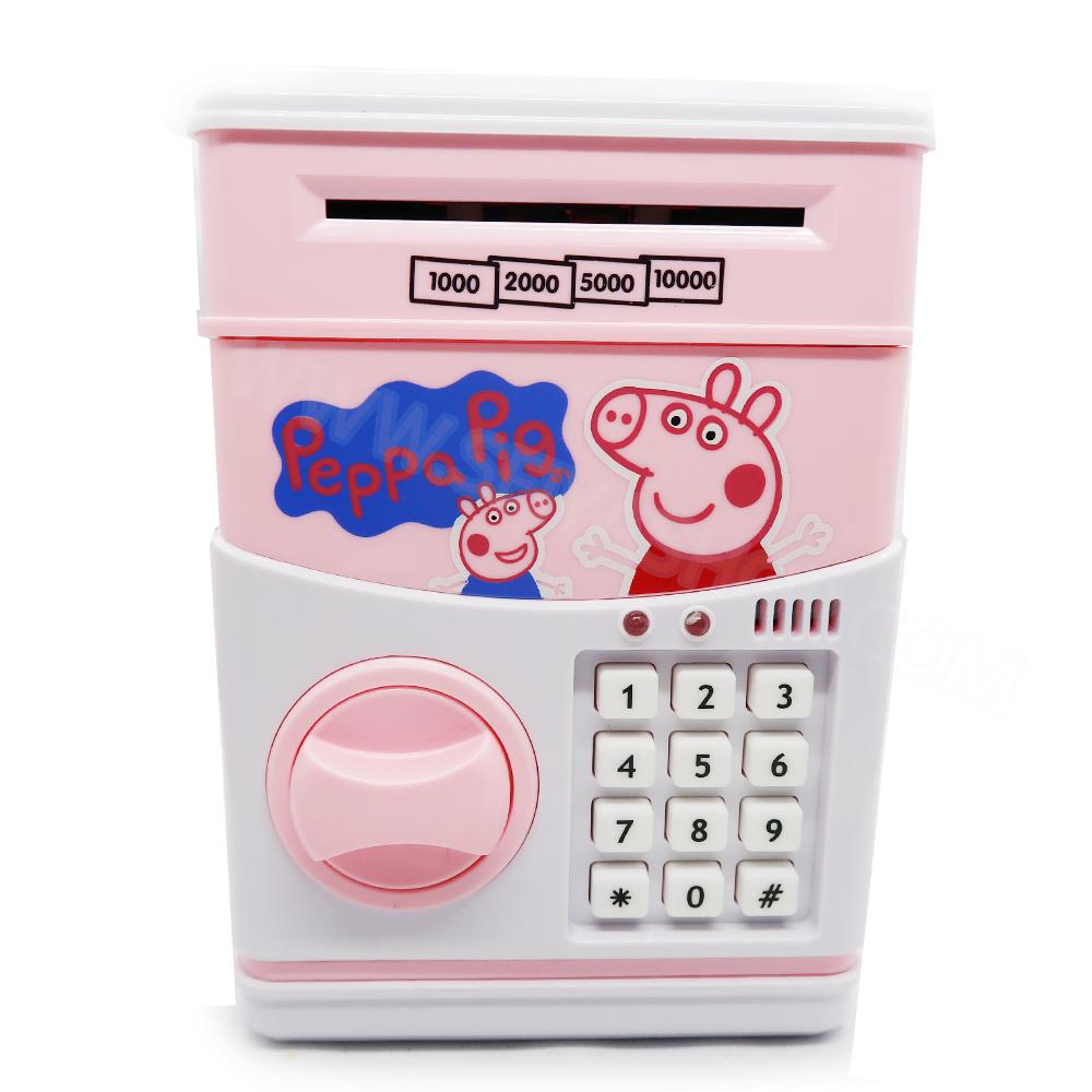 KA029 กระปุกออมสิน ตู้เซฟ ดูดเงินอัตโนมัติ ลาย Papa Pig