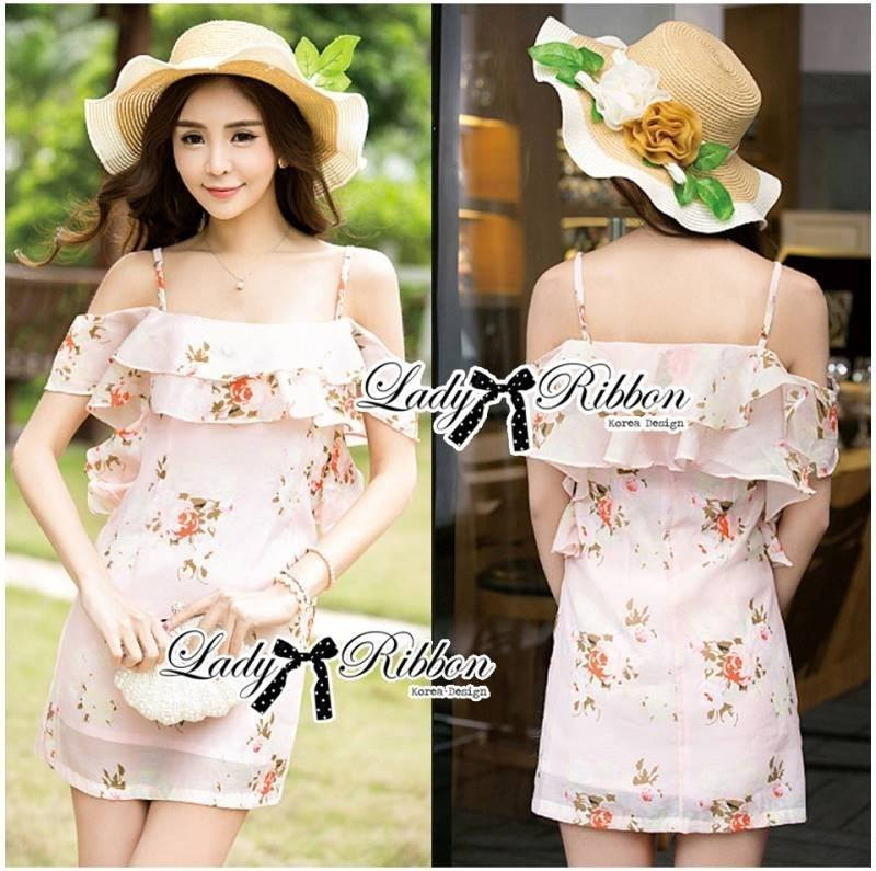 Lady Selena Sweet Feminine Floral Printed Silk Cotton Ruffle Dress (สีชมพู)