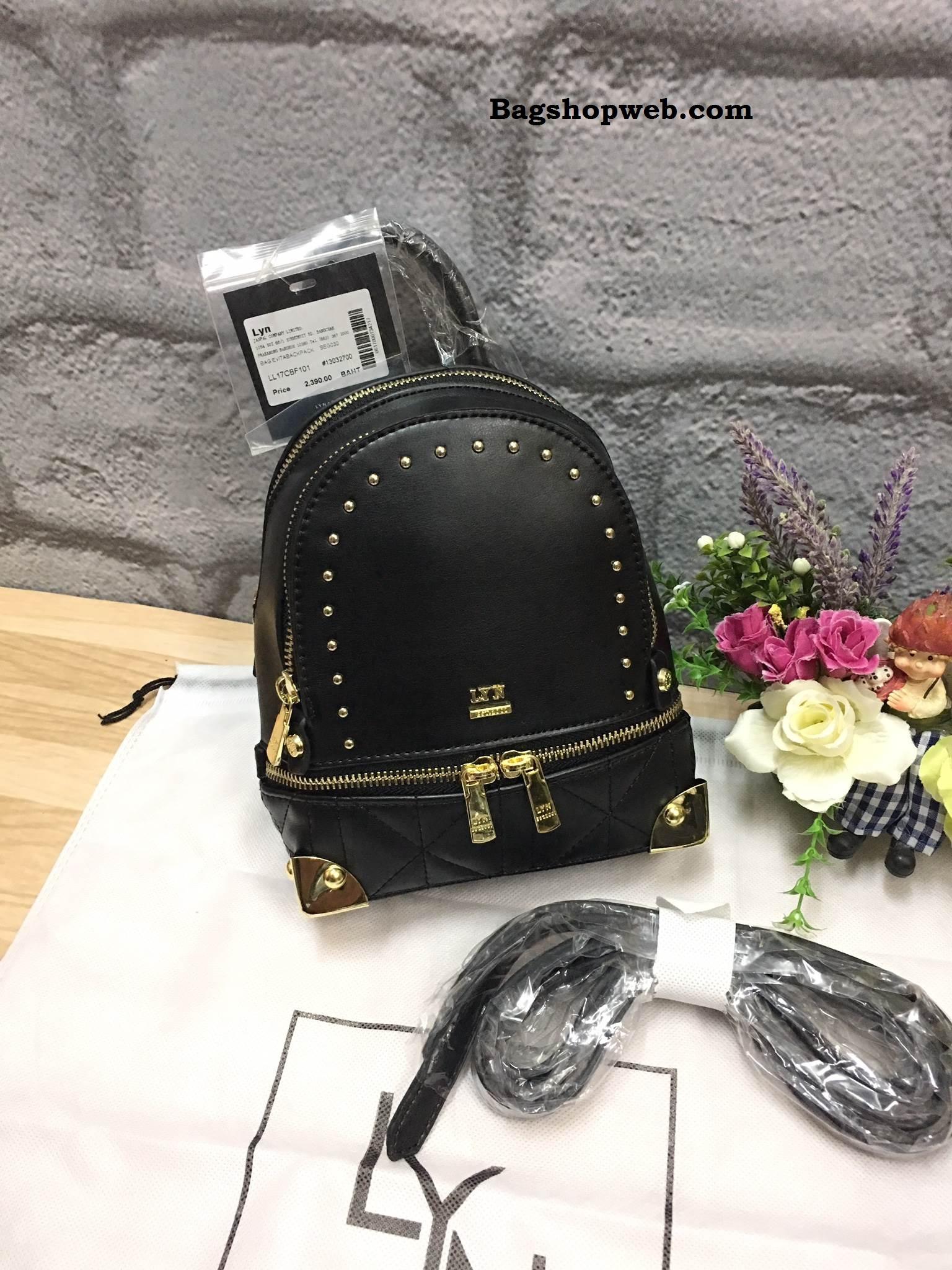 LYN EVITA BACKPACK 2017 รุ่นใหม่ชนช้อป กระเป๋าเป้ขนาดกะทัดรัด สีดำ ราคา 1,490 บาท Free Ems