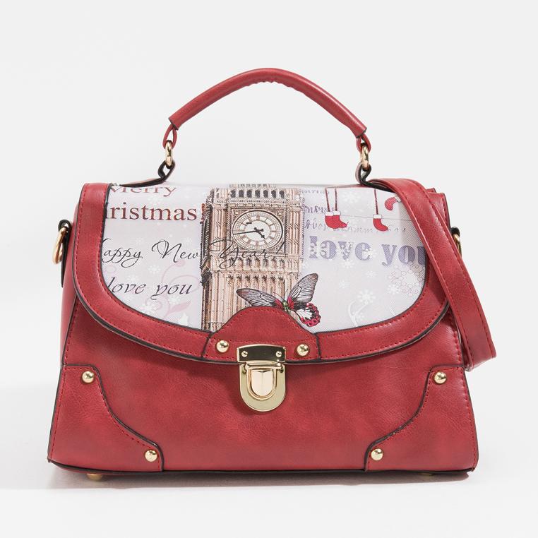 กระเป๋าสะพายข้าง London Christmas รุ่น BB0152 สีไวน์แดง