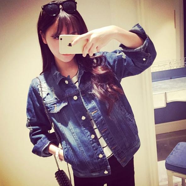 เสื้อแจ็คเก็ตยีนส์ผู้หญิง คอปก แขนยาว