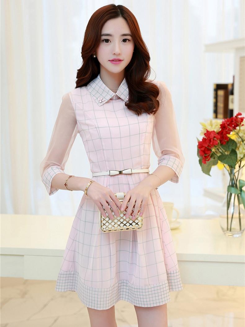 ชุดเดรสทำงานสีชมพู คอเชิ้ต แขนสี่ส่วน เอวเข้ารูป กระโปรงสั้นจีบทวิส สวยหวานหน่ารักสไตล์เกาหลี