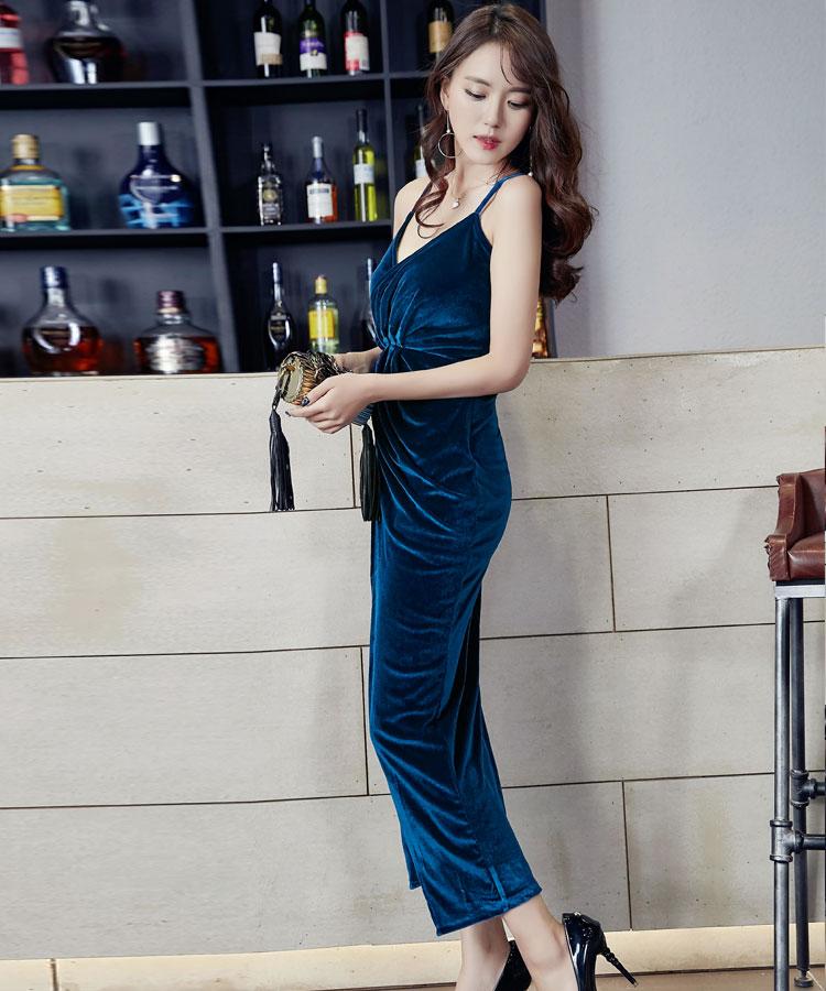 ชุดเดรสออกงานแนวเซ็กซี่สีน้ำเงิน ผ้ากำมะหยี น่ารัก