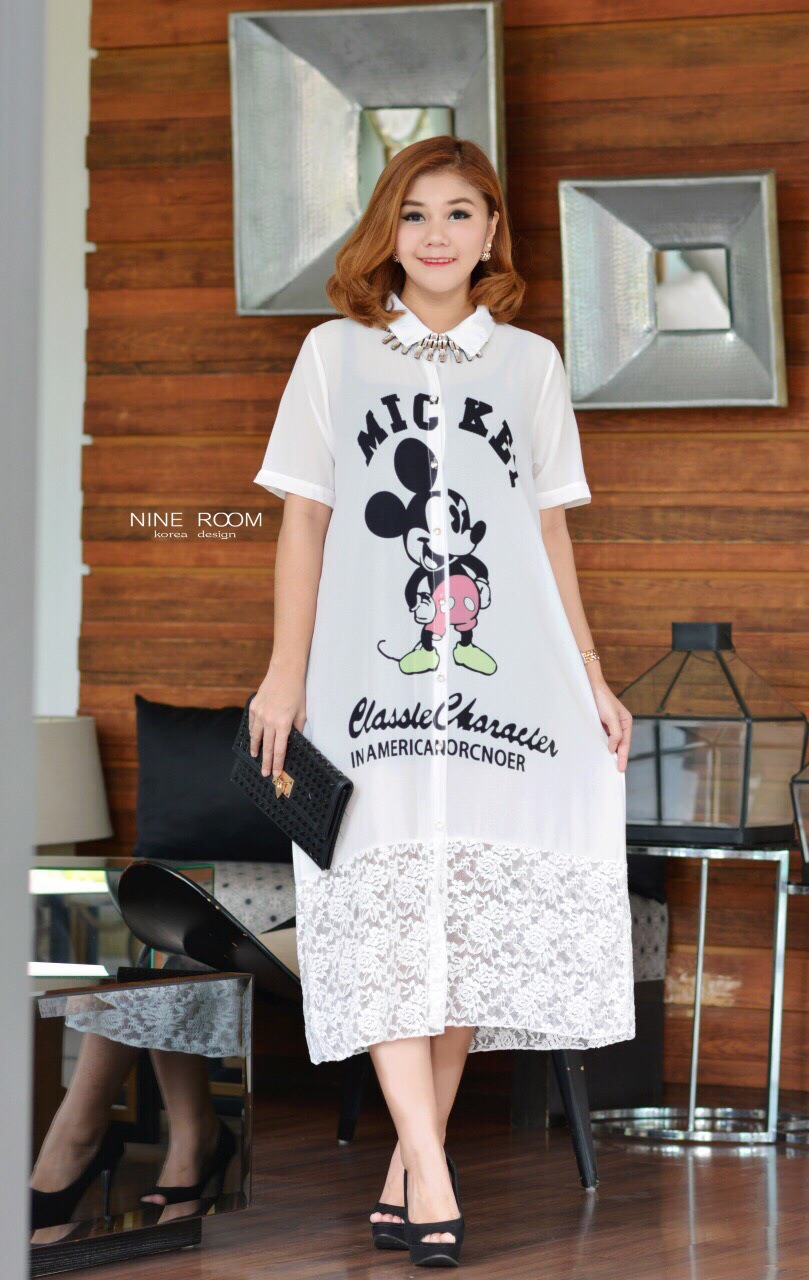 "รหัสNR516 **สีขาว** รอบอก 44"" Mickey Comics Printed With Silk Chiffon Spile Lace Tail ShirtDress"