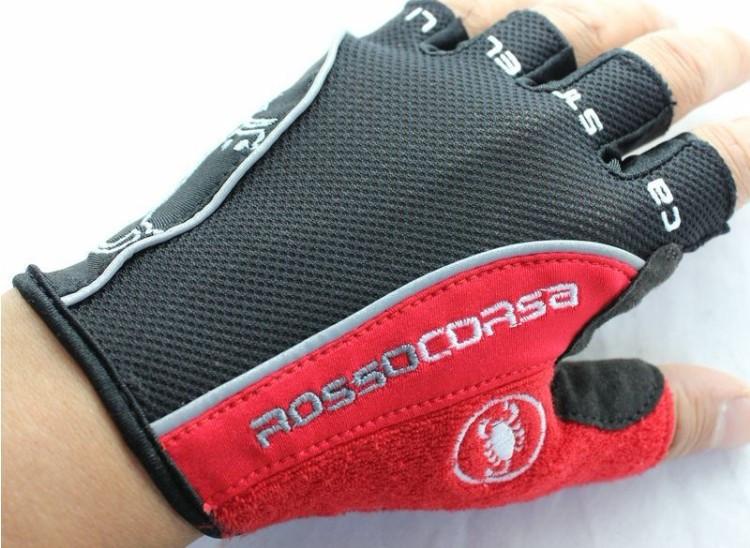 ถุงมือปั่นจักรยานยี่ห้อ castelli สีดำแดง : 163