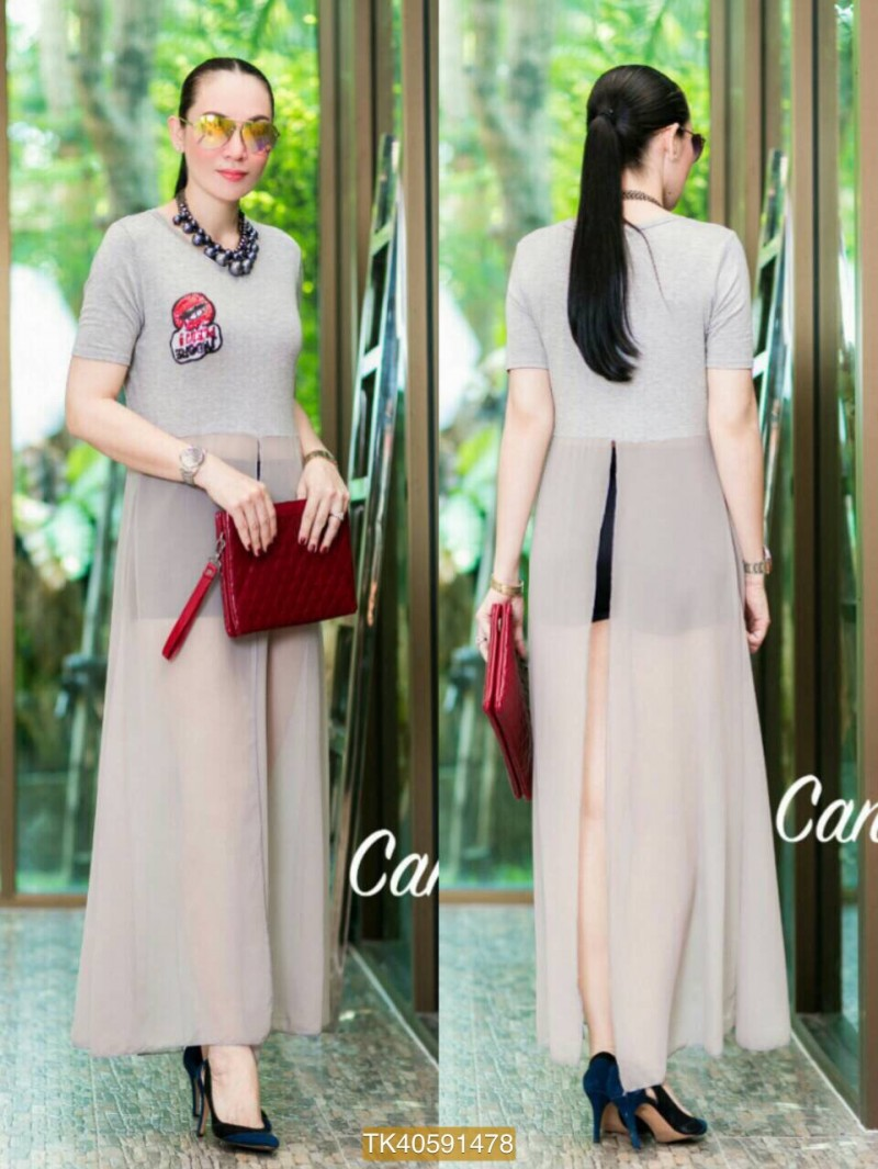 "TK1478**สีเทา**รอบอก40"" Topshop Cotton Long Maxi Cotton& Chiffon sequined mouth"