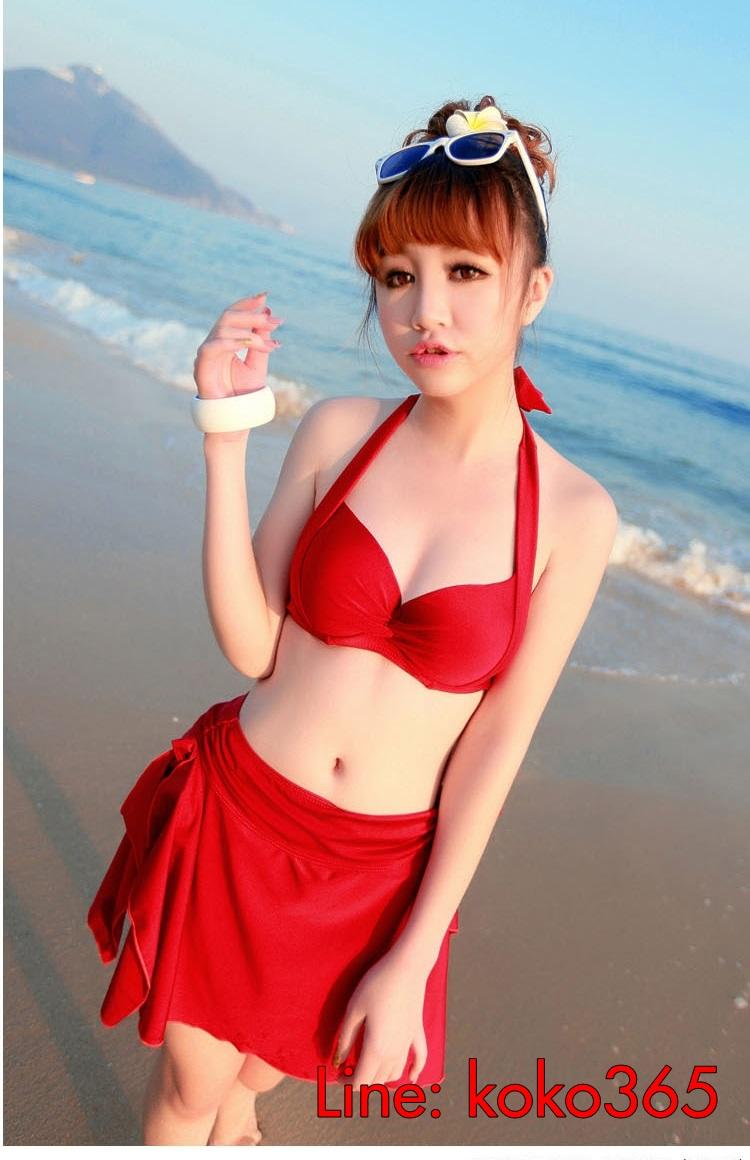 ชุดว่ายน้ำ บิกินี่เซ็ท 3 ชิ้น บราผูก พร้อมผ้าเอนกประสงค์ สีแดง