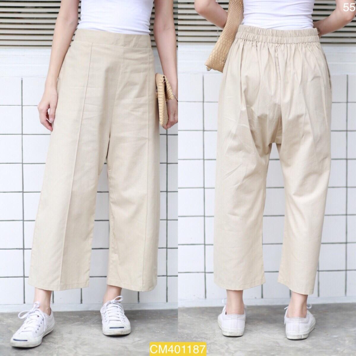 """CM1187 *สีครีม* เอว32-40"""" กางเกงผ้าฝ้ายเนื้อดี"""