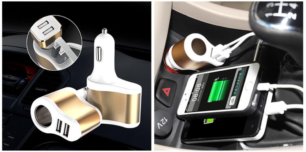 HOCO UC206 ช่องเสียบที่ชาร์จแบตในรถยนต์ USB 2 Port 3.1A และช่องจุดบุหรี่ในรถยนต์ 1 ช่อง (สีขาว)