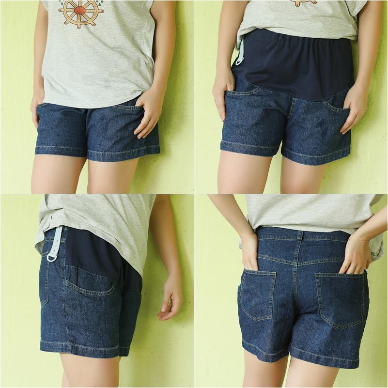 กางเกงคลุมท้อง ปรับระดับ ขาสั้น ผ้ายีนส์