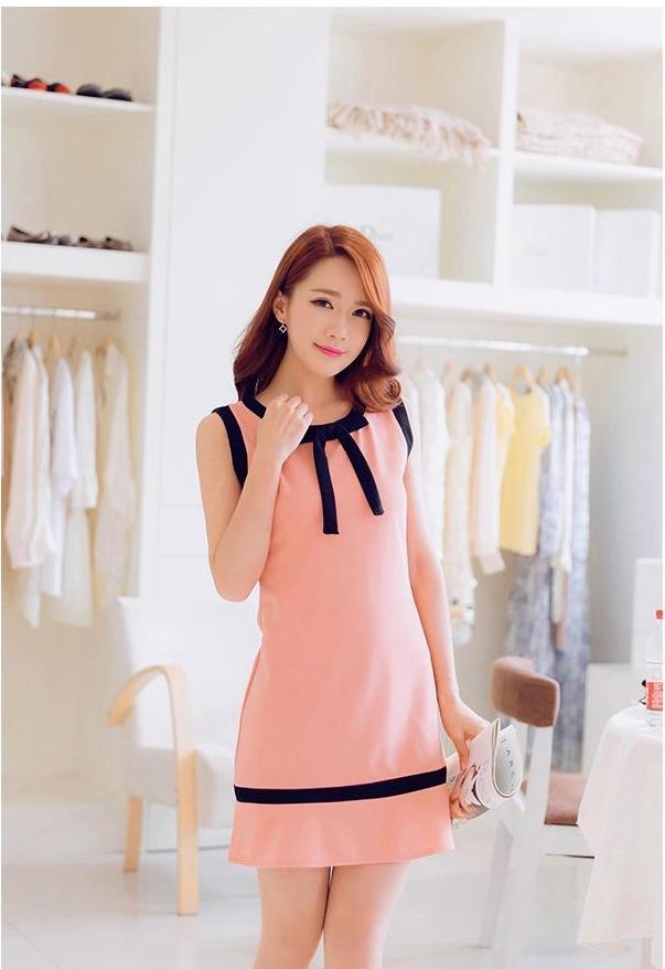 [พรีออเดอร์] ชุดเดรสชีฟองผู้หญิงแฟชั่นเกาหลีใหม่ คอกลม แขนกุด แบบเก๋ เท่ห์ - [Preorder] New Korean Fashion Slim Chiffon Round Neck Long-sleeved Dress