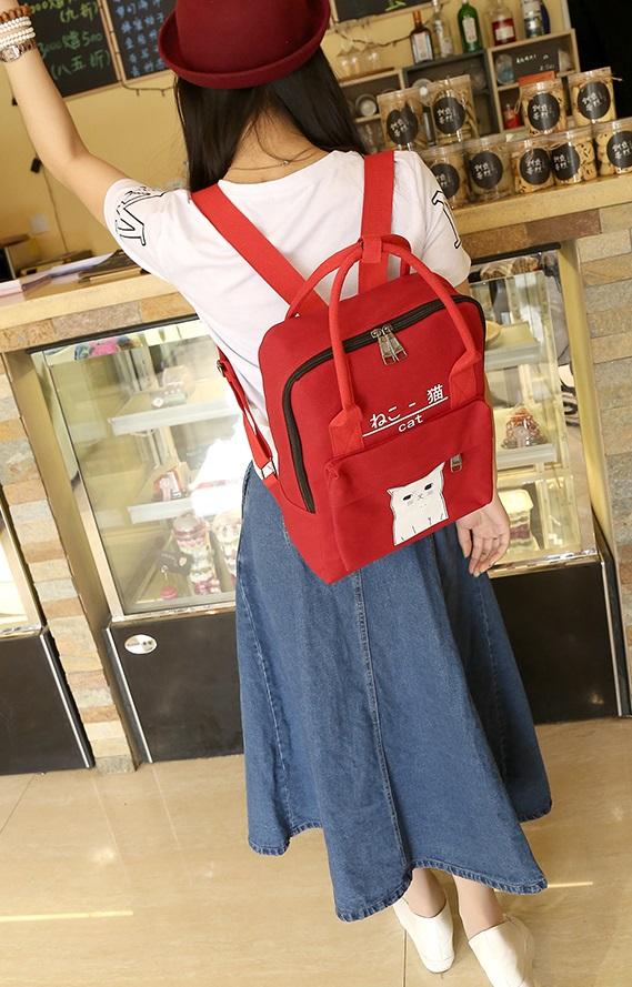 กระเป๋าเป้ Japan chic (กระเป๋าเป้สไตล์ญี่ปุ่น) สีแดง