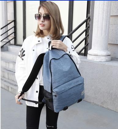 Simple color canvas bag (สีฟ้า)