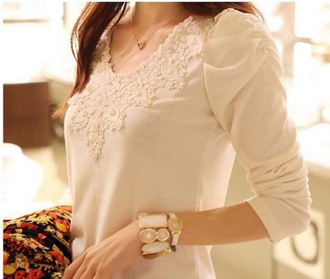 [พร้อมส่ง] เสื้อทำงานแฟชั่นเกาหลี คอกลม แขนยาว ลูกไม้ สีขาว - [In Stock] Women Korean Hitz Slim Round Neck Long-sleeve Lace White Shirt