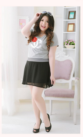 พรีออเดอร์ เสื้อกระโปรงแฟชั่นเกาหลีใหม่ ผ้าชีฟองแขนสั้น น่ารัก สำหรับผู้หญิงไซส์ใหญ่ - Preorder New Korean Fashion Casual Short-sleeved Dress Chiffon Double Patch Swing Dress for Large Size Woman