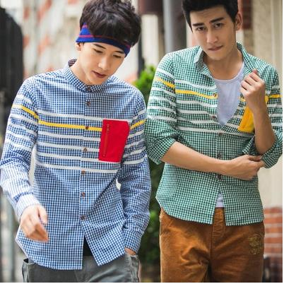 พรีออเดอร์ เสื้อเชิ้ตทำงานแฟชั่นเกาหลีสำหรับผู้ชาย แขนยาวลายสก๊อต เก๋ เท่ห์ - Preorder Men Korean Hitz Slim Long-sleeved Plaid Shirt