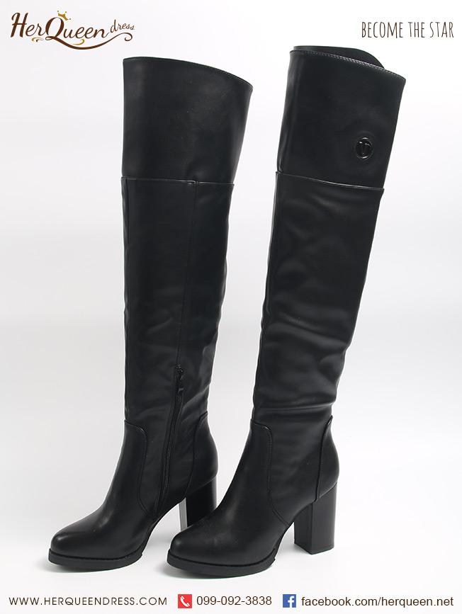 เช่ารองเท้า &#x2665 รองเท้าบู๊ทสูง ประมาณเข่า สีดำ